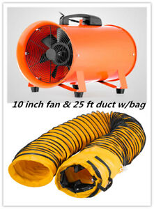 10 Extractor Fan Blower Portable 8m Duct Hose W bag Fume Ventilation Exhaust