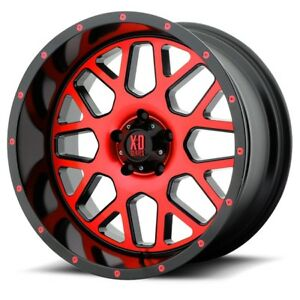 20 Inch Black Red Wheels Rims Xd Series Xd820 Grenade 20x10 Jeep Jk Lifted Set 5