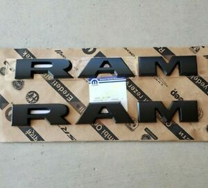 New 2019 2020 Dodge ram 2500 3500 Heavy Duty Flat Black Door Nameplates Oem