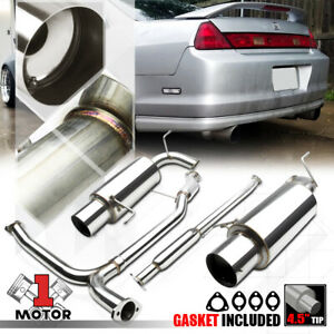 Ss Dual Muffler 4 5 Tip Catback Exhaust System For 98 02 Honda Accord 3 0 J30a1