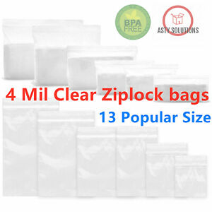 Clear Reclosable 4 mil Heavy Duty Zip Lock Plastic Bags Ziplock Poly Jewelry Bag