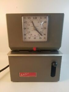 Lathem Time Punch Clock Vintage Taupe Tested Works Traditional No Key