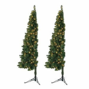Home Heritage 7#x27; Pre Lit PVC Artificial Half Christmas Tree with Stand 2 Pack