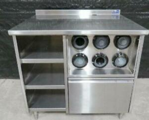 39 X 30 Stainless Steel Beverage Station Table Cup Dispenser Counter Top Prep