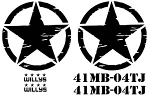 Distressed Military Star For Jeep Wrangler Front Doors Willys 41mb Decal Tj