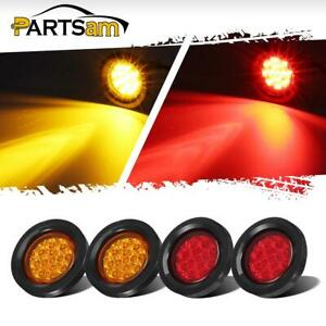 7 Red 4 Amber 2 5inch Miroflex Led Marker Lights 13led Round W Grommets Pigtail