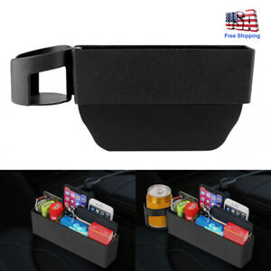 Car Seat Storage Box Console Side Pocket With Coin Phone Organizer Cup Holder