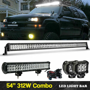 50 Led Light Bar Curved 126w Lamp 2x Pods Mounts For Chevy Silverado Gmc Sierra