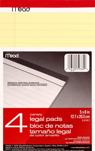 Mead Canary Junior Legal Pads 5 X 8 Inch 4 Pack 50 Sheets 59382