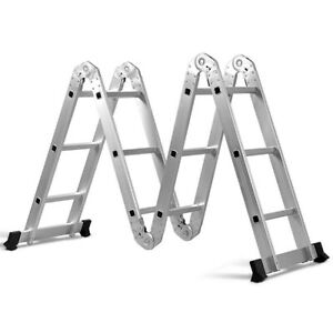 12 5 12 step Multi purpose Aluminium Folding Scaffold Ladder Extension Platform