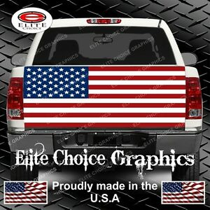 American Flag Flat Truck Tailgate Wrap Vinyl Graphic Decal Sticker Wrap