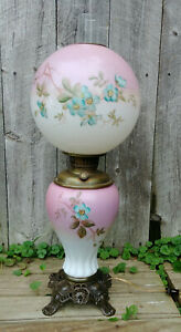 Antique Glass Gone With The Wind Table Lamp Pink Blue Green Hand Painted Flowers
