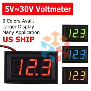 Led 12v 24v Digital Display Voltmeter Car Motorcycle Voltage Gauge Panel Meter