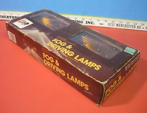 Nos Vintage Pair K mart Auto Shack Amber Glass Fog Driving Lamps Lights