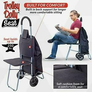 Trolley Dolly With Seat Black Shopping Grocery Foldable Cart Tailgate black