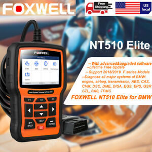 Foxwell Nt510 Elite For Bmw Full System Abs Airbag Sas At Dpf Reset Obd2 Scanner