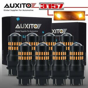 8pcs Auxito 3156 3157 4157 4057 Led Bulbs Amber Yellow Turn Signal Blinker Light