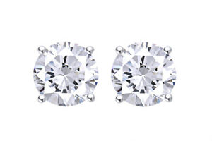 3 CTTW Diamond Solitaire Stud Earrings in 14K White Gold Black Friday Deals