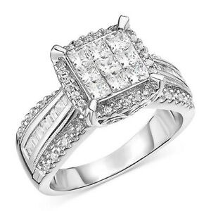 1 ctw Diamond Cluster Engagement Ring in 14k White Gold Black Friday Deals
