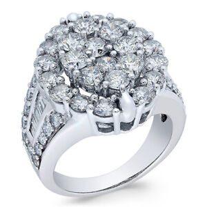 4 ctw Diamond Oval Cluster Engagement Ring in 14k White Gold Black Friday Deals