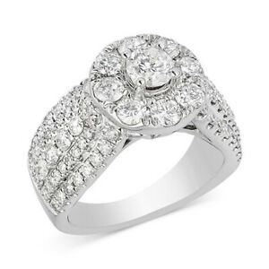 2-12 Ctw Diamond Halo Engagement Ring in 14k White Gold Black Friday Deals