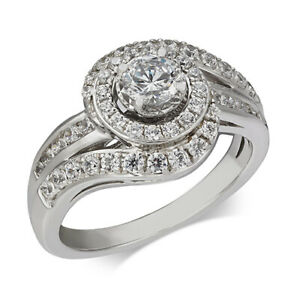 1 Ctw Diamond Swirl Halo Engagement Ring in 14k White Gold Black Friday Deals