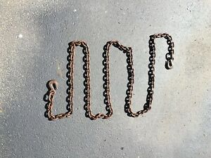 Vintage Heavy Duty 14 Logging Towing Chain W Clevis Hooks