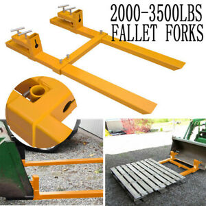 2000lb 3500lb Tractor Pallet Forks Bucket Clamp On 43 For Skid Steer Loader Usa