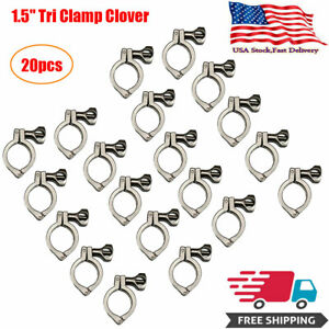 1 5 Tri Clamp Clover Sanitary Fits 50 5mm Od Ferrule 304 Stainless Steel 20pcs