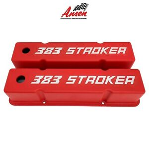 Ansen Small Block Chevy Sbc Tall 383 Stroker Engraved Red Valve Covers