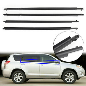 4pcs Door Auto Window Trim Moulding Belt Weatherstrip For Toyota Rav4 2009 2012