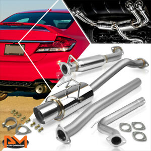 For 12 15 Honda Civic Si 4 dr 4 tip Muffler Stainless Steel Catback Exhaust Pipe