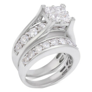 4 Ctw Diamond Channel-Set Bridal Set in 14k White Gold Black Friday Deals