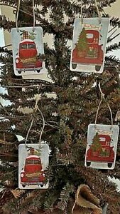Handmade Primitive Vintage Red Truck Tags Ornies Christmas Tree