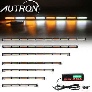 25 62 Cob Led Traffic Adviser Emergency Warning Strobe Light Bar White Amber