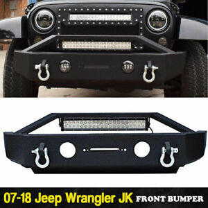For 2007 2018 Front Jeep Wrangler Jk Bumper Front light Bar d ring Winch Plate