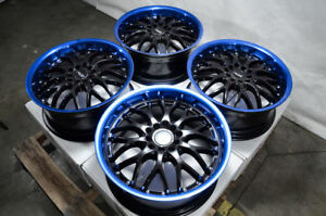 17 Wheels Honda Accord Civic Outback Tribeca Legacy Black Blue Rims 5 Lugs