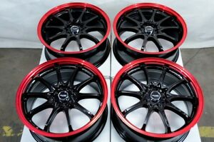 17 Wheels Accord Civic Galant Impreza Camry Corolla Civic Black Red Rims 5 Lugs