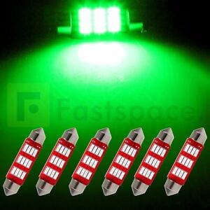 6x 1 61 Inch 41mm Green Festoon 12smd 4014 Car Interior Led Light Bulbs 12v Us