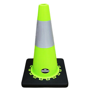 18 Rk Lime Safety Traffic Pvc Cones Black Base With One Reflective cone18l1t