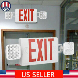 Adjust 2 Head Led Exit Sign Emergency Light Red Compact Combo Fire Safety