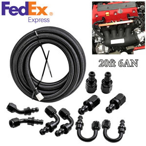 20ft 6an Stainless Steel Braided Fuel Line 10pcs Push Lock Fitting Hose End Us