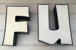 F U Yellow 18 Lighted Outdoor Sign Letters Monogram Big Large Building Fu