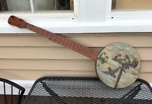 Primitive Antique Folk Art Painted Banjo Signed Dated 1865 Birds On Wire