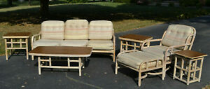 Vintage Mid Century Ficks Reed 7 Piece Sofa Chair Ottoman Coffee And End Tables