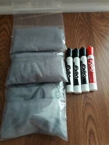 Expo Dry Erase Markers And 5 Microfiber Cloths 3 Black 1 Red New