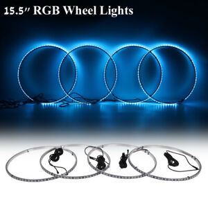 4pcs 15 5 Led Rgb Ring Wheel Lights W Turn Brake Illuminated Kit Bluetooth App