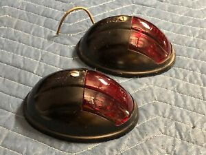 Pair Nos Kd 518 Vintage Marker Tail Light Fender Truck Cab Trailer Clearance Red