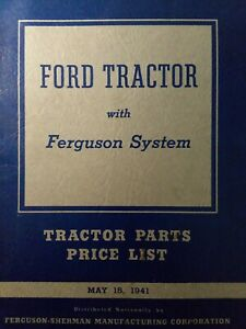 Ford Ferguson System 9n Farm Tractor Parts Catalog 1941 Price List Manual