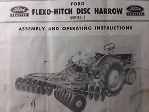 Ford Tractor Three point Flexo Hitch Disc Harrow J Owner Service Parts Manual